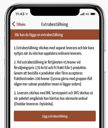 Extrabeställning i appen