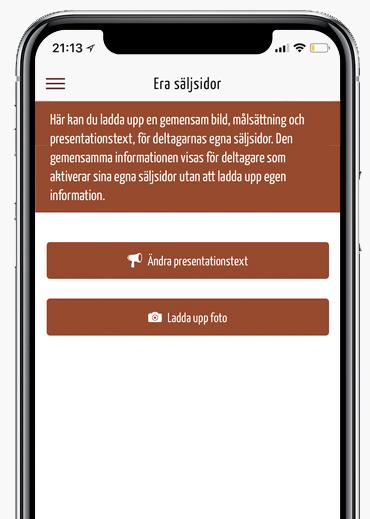 Säljsida i appen